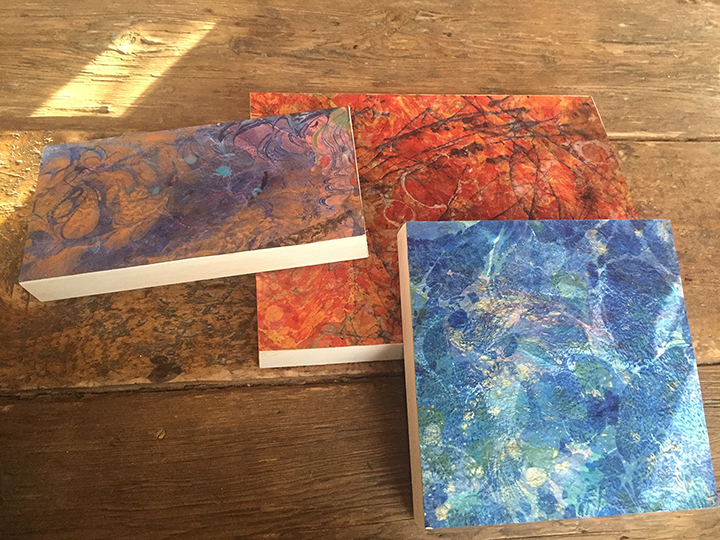 Three Marbled Books
